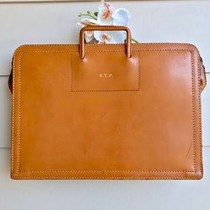 Vintage Leather Briefcase in Camel Brown